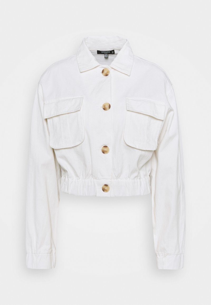 Missguided Petite - UTILITY POCKET SHACKET - Denim jacket - white