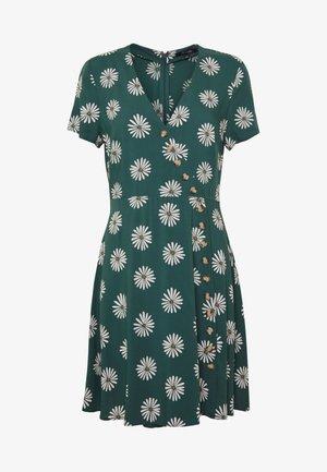 VNECK BUTTONFRONT MINI DRESS IN BIG DAISY - Korte jurk - big daisy midnight green