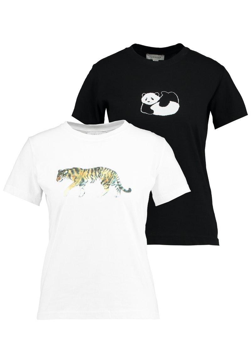 Topshop - TIGER & PANDA TEE 2 PACK - Print T-shirt - white