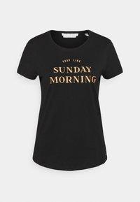 TOM TAILOR DENIM - BASIC EMBRO TEE - Print T-shirt - deep black - 4