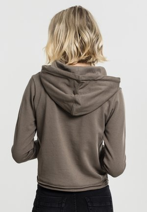 CROPPED TERRY HOODY - Jersey con capucha - army green