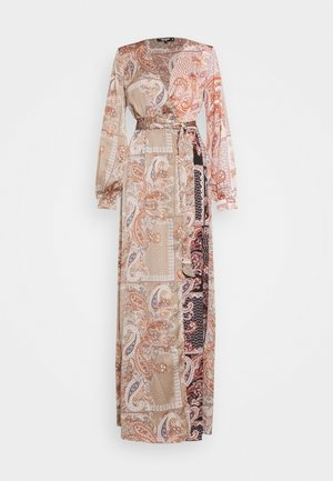 PRINTED TIE BELT DRESS - Day dress - rust