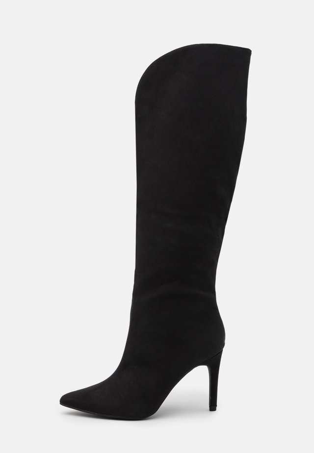 MID HEEL CURVE TOP BOOTS - Over-the-knee boots - black