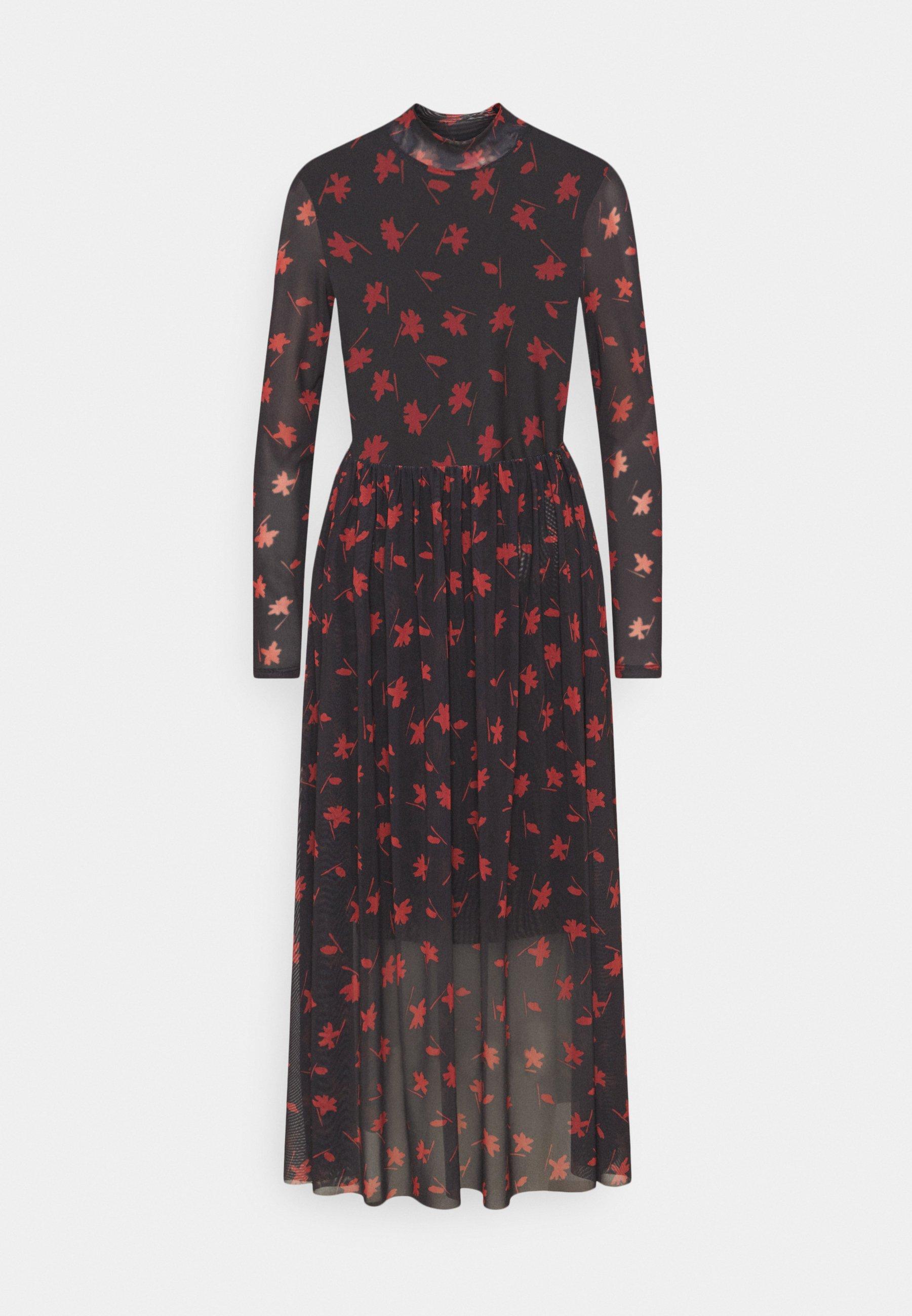 Women PRINTED MIDI DRESS - Day dress - black
