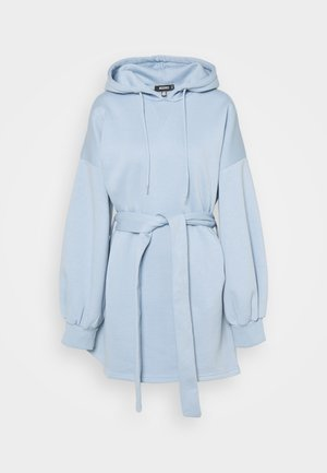 HOOD MINI DRESS TIEBELT - Kjole - slate blue