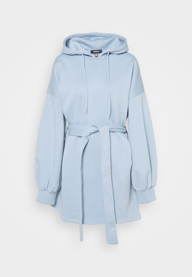 HOOD MINI DRESS TIEBELT - Sukienka letnia - slate blue
