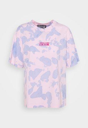 Triko spotiskem - blue bell/pink confetti