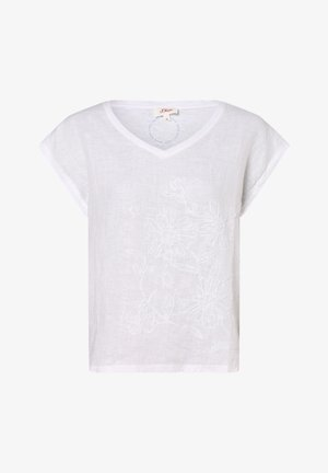 Print T-shirt - white embroidery