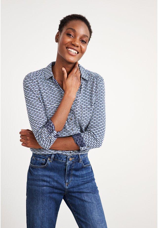 Button-down blouse - marineblau mehrfarbig