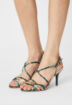 EMBIMO MUSA - High heeled sandals - turquoise/gold