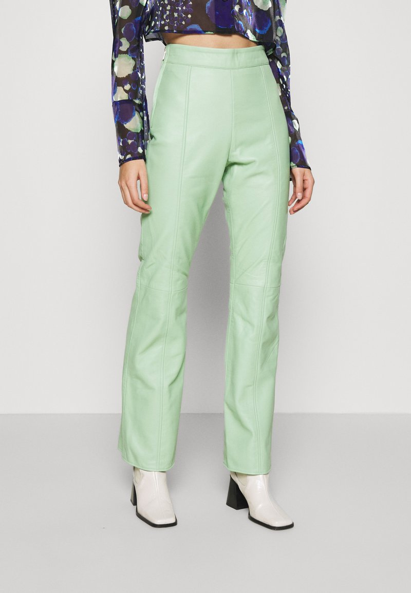 HOSBJERG - VALORA PANTS - Leather trousers - mint