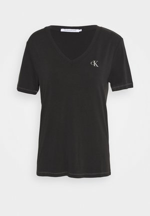 V NECK TEE - T-shirt con stampa - black