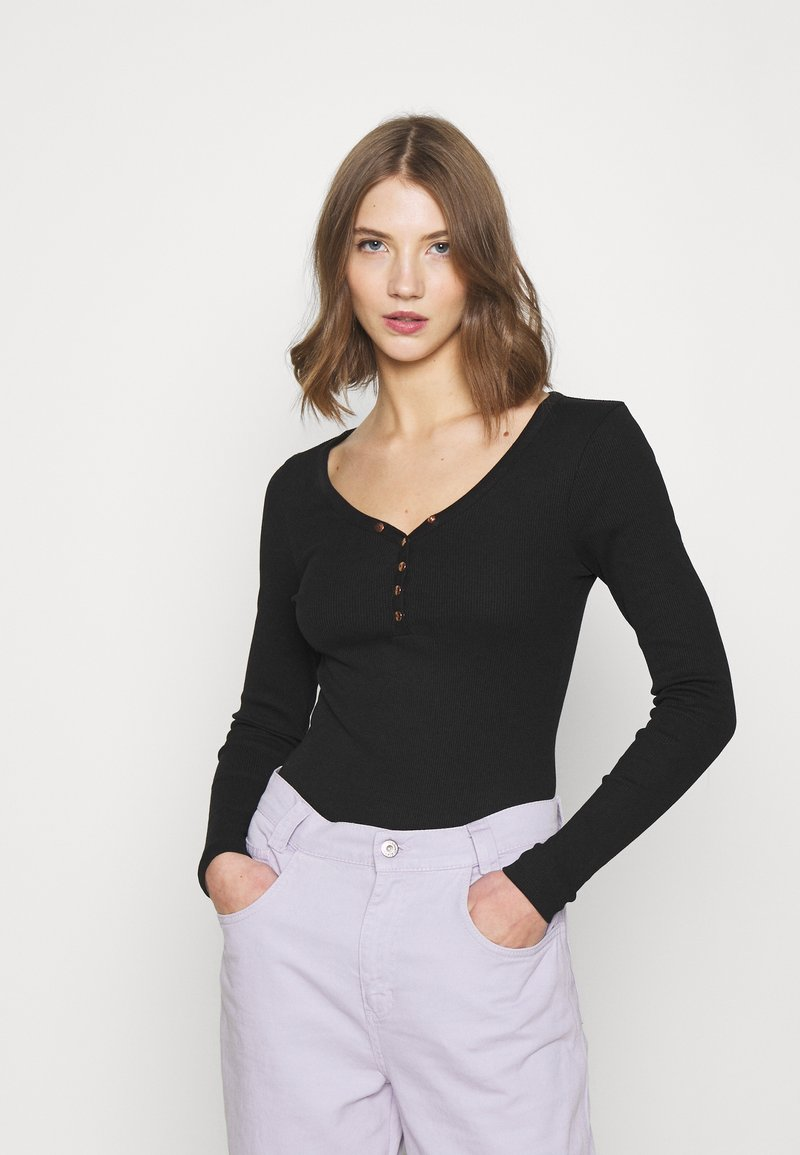 New Look - POPPER BODY - Long sleeved top - black