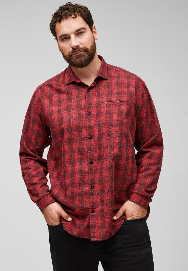 Shirt - dark red check