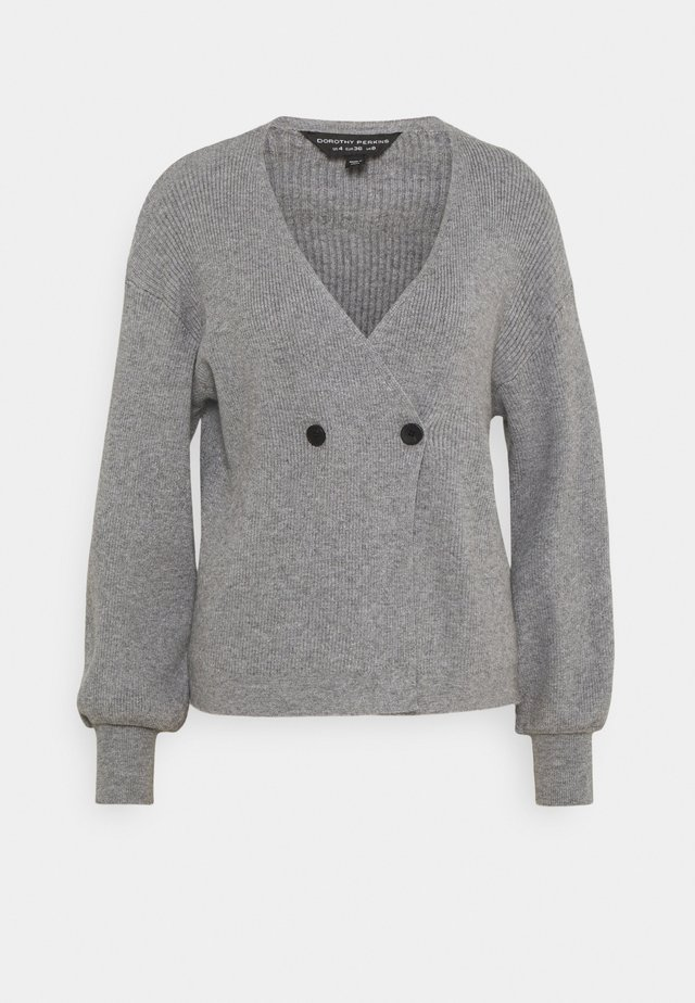 BUTTON WRAP JUMPER - Pullover - grey marl