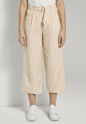 Trousers - cream toffee offwhite stripe