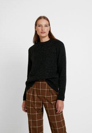SLFAUGUSTA O NECK - Sweter - black/grey melange