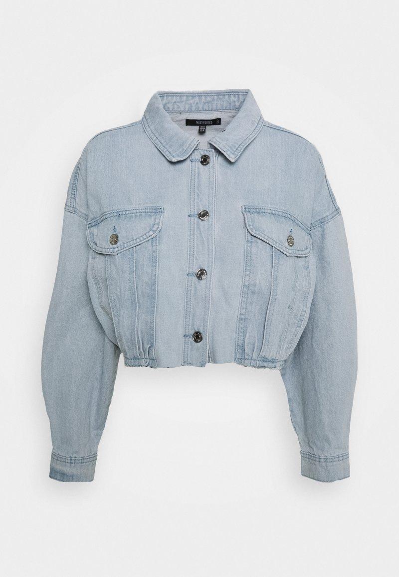 Missguided - CROPPED RAW HEM JACKET - Denim jacket - light blue