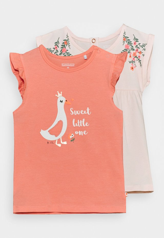 2 PACK  - T-shirt con stampa - apricot/light pink