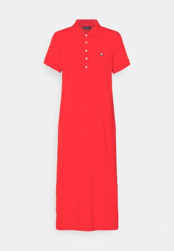 POLO DRESS - Day dress - lava red