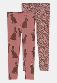Lindex - MINI PRINTED 2 PACK - Leggings - Trousers - dark dusty pink - 0