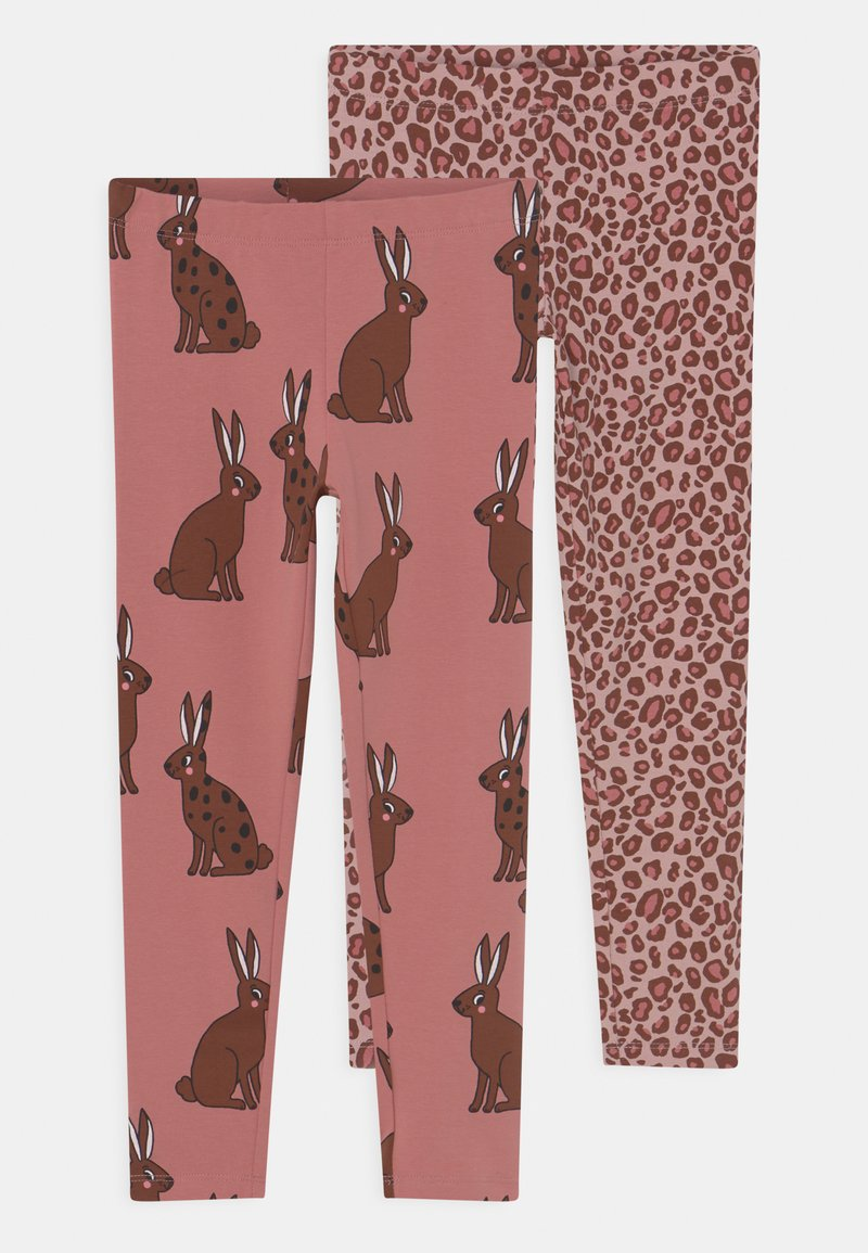 Lindex - MINI PRINTED 2 PACK - Leggings - Trousers - dark dusty pink