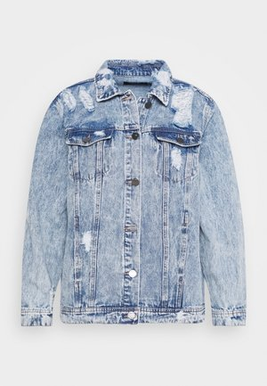 RIPPED OVERSIZED JACKET - Denim jacket - stonewash
