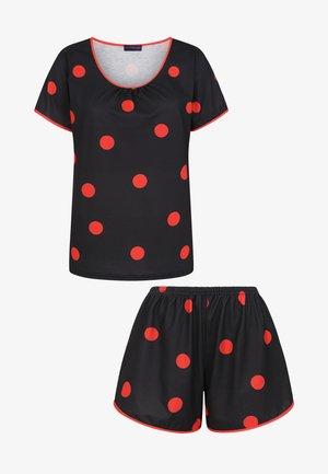 Pyjama set - black with red polka dots