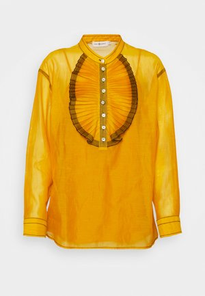 RUFFLE FRONT BLOUSE - Long sleeved top - saffron gold