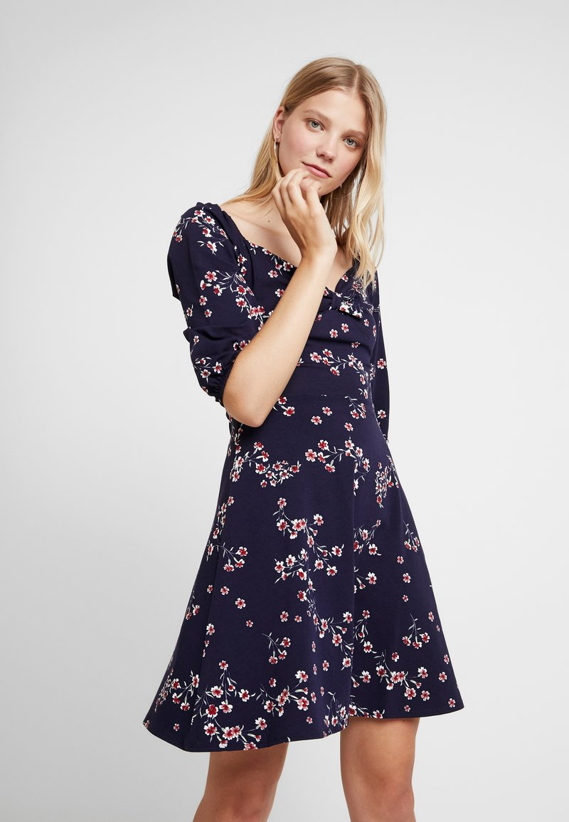 Dorothy Perkins - SLEEVE GYPSY TIE FRONT FIT FLARE - Jerseykjoler - navy