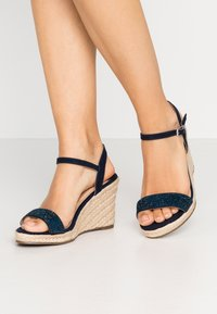 Dorothy Perkins Wide Fit - WIDE FIT RAA-RAA EMBELLISHED VAMP WEDGE - High heeled sandals - navy - 0