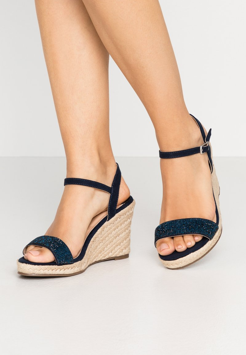 Dorothy Perkins Wide Fit - WIDE FIT RAA-RAA EMBELLISHED VAMP WEDGE - High heeled sandals - navy