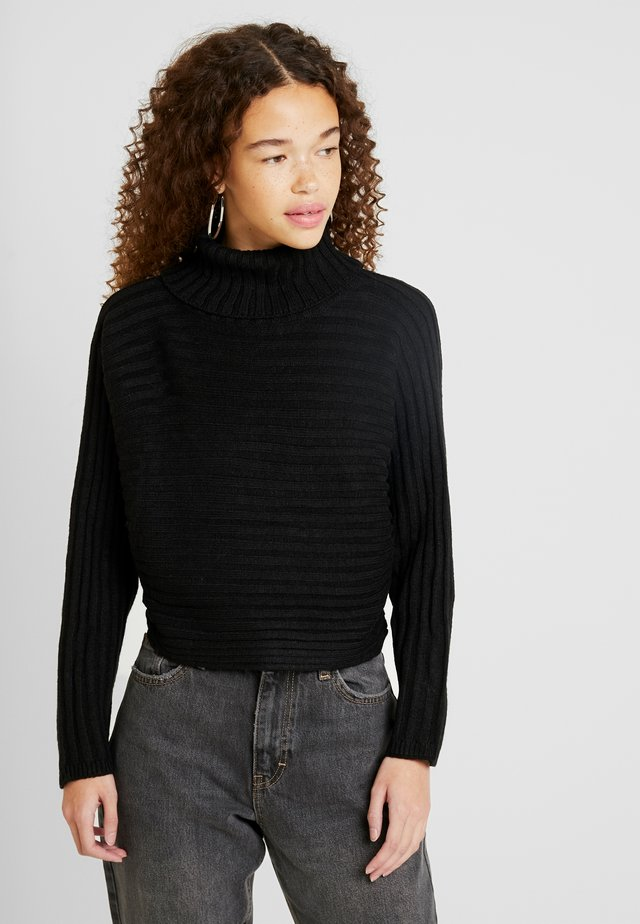CROPPED ROLL NECK - Jumper - black