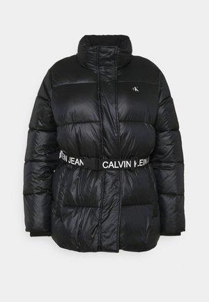 LOGO BELT PUFFER - Short coat - black