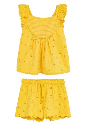 OCHRE JERSEY BRODERIE LACE SHORT SET (3MTHS-7YRS) - Shorts - yellow