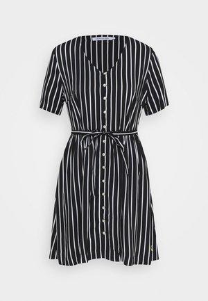 STRIPE DRESS WAISTED - Vestito estivo - black / bright white