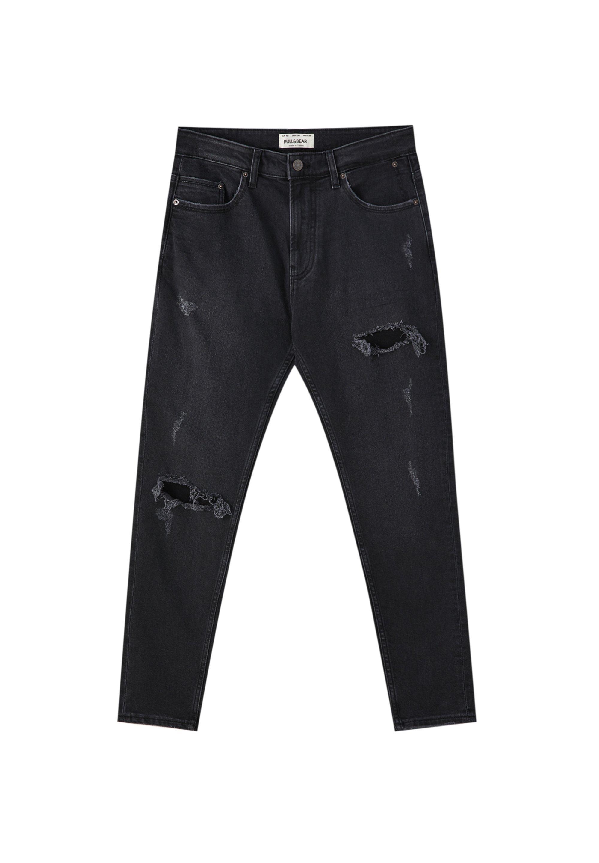 Pull&bear Jeansy Slim Fit - Black