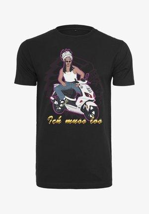 HERREN ROLLER - Print T-shirt - black