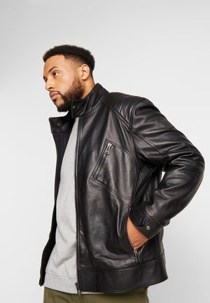 BIG & TALL V RACER  - Leather jacket - black