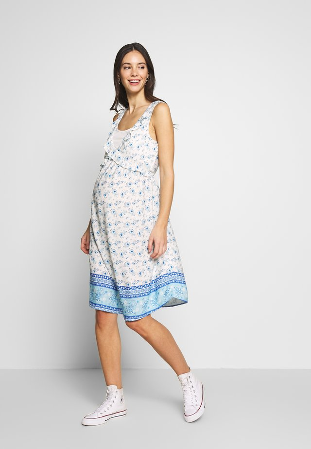 NURSING PRINTED DRESS WITH FLOUNCE - Korte jurk - blue/white