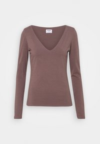 Cotton On - EVERYDAY WIDE V NECK LONG SLEEVE - Long sleeved top - brown stone - 0