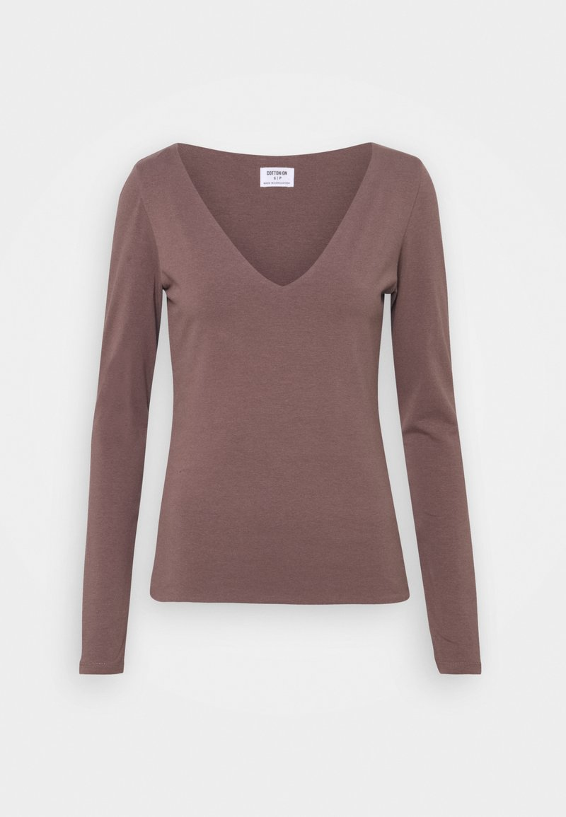 Cotton On - EVERYDAY WIDE V NECK LONG SLEEVE - Long sleeved top - brown stone