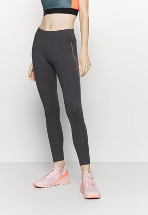 ONPJOLIVIA LIFE - Leggings - dark grey melange/white/coral