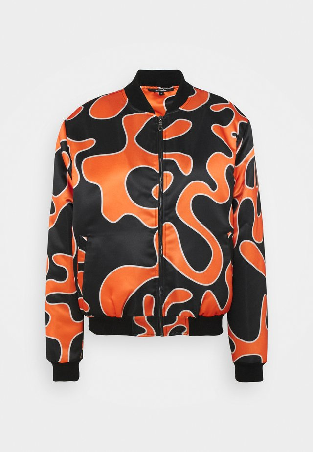 FLEMING - Bomber bunda - black/orange
