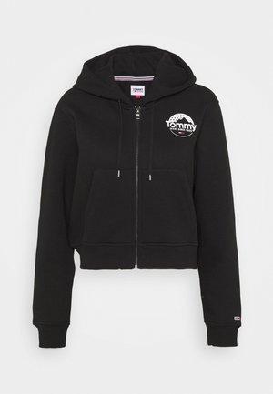 CROPPED LOGO ZIP THRU - veste en sweat zippée - black