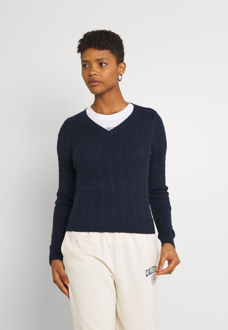 Hollister Co. - ICON CABLE V NECK - Jumper - navy