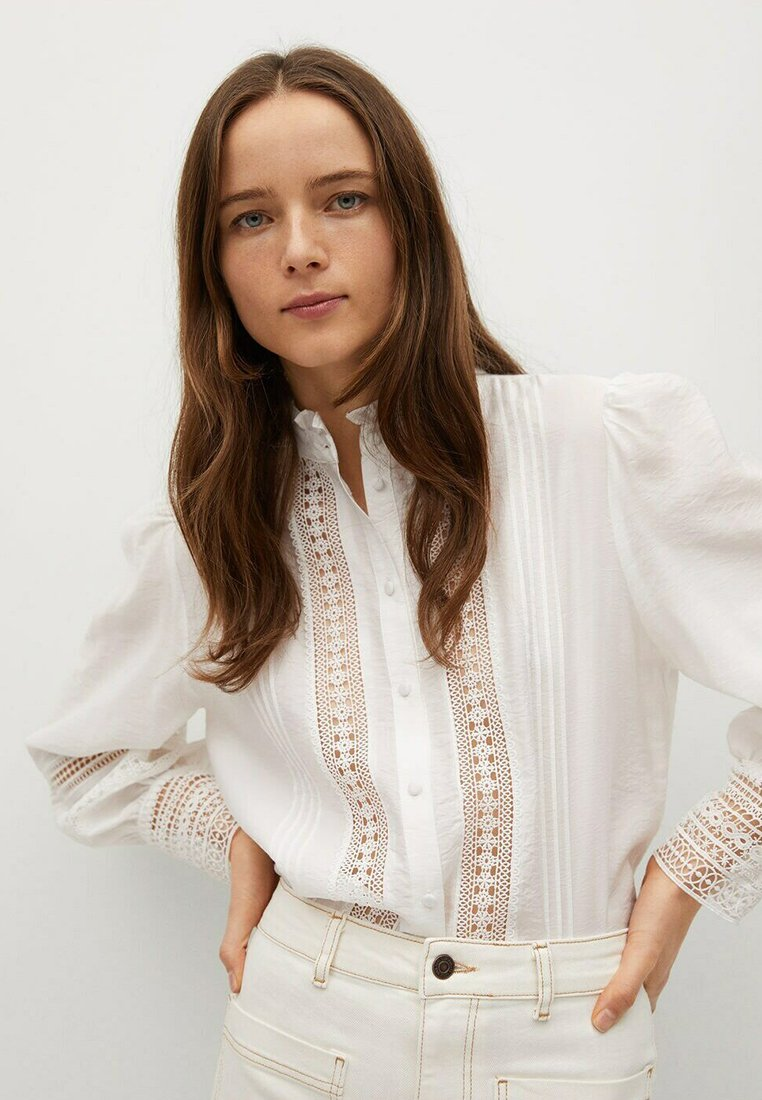 Mango - CAMISA  - Button-down blouse - blanco roto