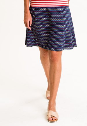 A-line skirt - dunkelblau mit bunten streifen