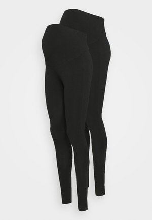 7/8 LENGTH MATERNITY LEGGINGS 2 PACK - Legginsy - black