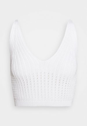 V NECK CROP  - Top - white